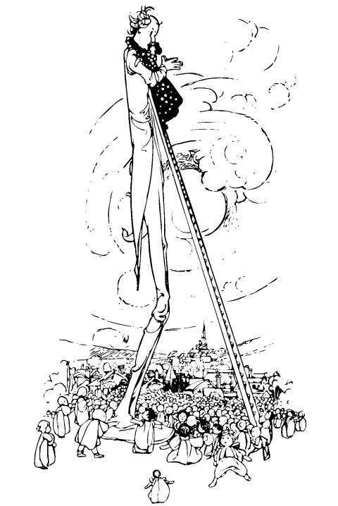 Bild: 'Lilliput Lyrics ... Edited by R. Brimley Johnson. Illustrated by Chas. Robinson' – Riesiger Mensch, von Kindern umringt; Frau auf Leiter umarmt ihn