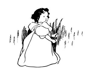 Bild: 'Lilliput Lyrics ... Edited by R. Brimley Johnson. Illustrated by Chas. Robinson' – Kleines Mädchen vor Getreidesträuchern
