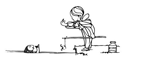 Bild: 'Lilliput Lyrics ... Edited by R. Brimley Johnson. Illustrated by Chas. Robinson' Kind mit Angel in Hand winkt Fisch zu sich hin