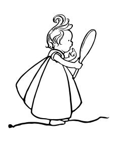 Bild: 'Lilliput Lyrics ... Edited by R. Brimley Johnson. Illustrated by Chas. Robinson' – Mädchen schaut sich im Spiegel an