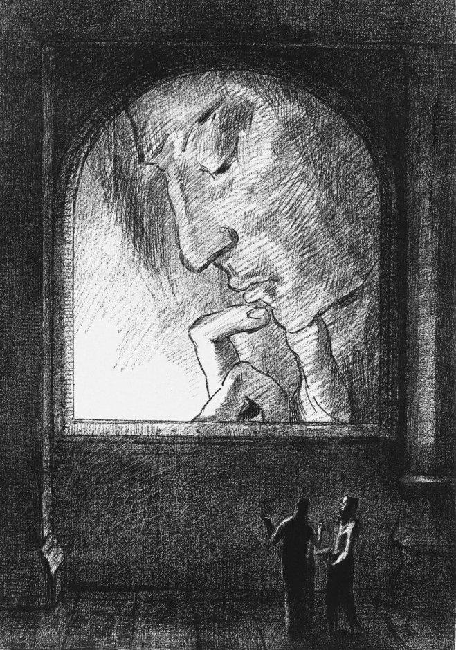 """Zeichnung des franbzösischen Grafikers und Malers Odilon Redon von 1893. Das Werk """"Light"""" zeigt zwei diskutierende Menschen vor dem Kopf eines grübelnden Mannes."""