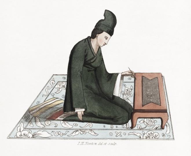 Vintage Illustration eines schreibenden Mannes, veröffentlicht im Jahre 1821 von Hiram Cox Original aus der öffentlichen Bibliothek von New York. URL: https://www.rawpixel.com/image/323089/vintage-illustration-name-looto-serre-published-1821-hiram-cox-original-new-york-public-library